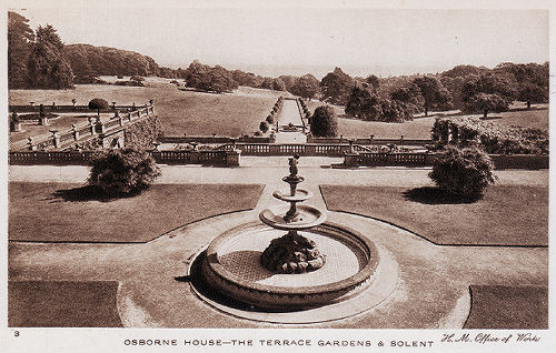 Osborne House Terrace looking towards the Solent